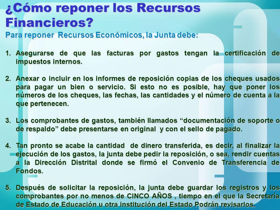 ¿Cómo reponer los Recursos Financieros