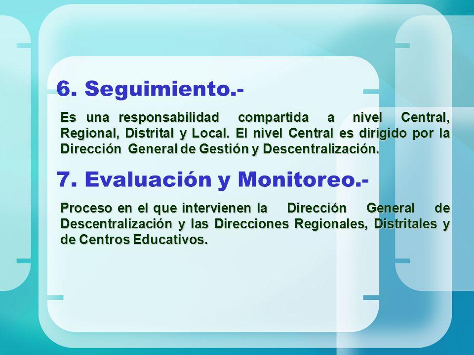 7. Evaluación y Monitoreo.-