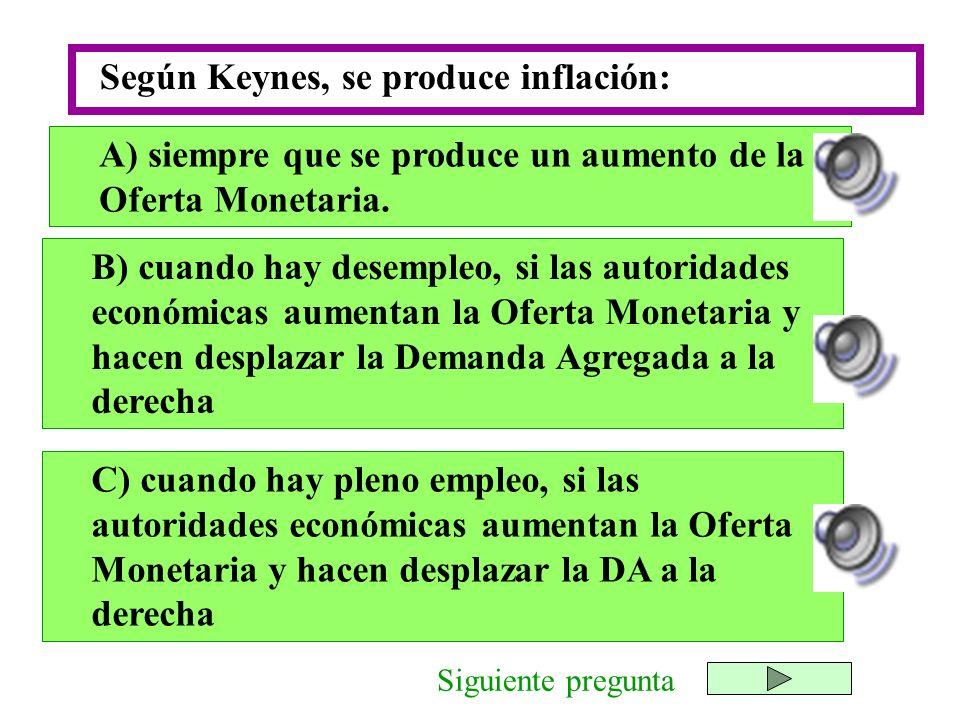 Según Keynes, se produce inflación: