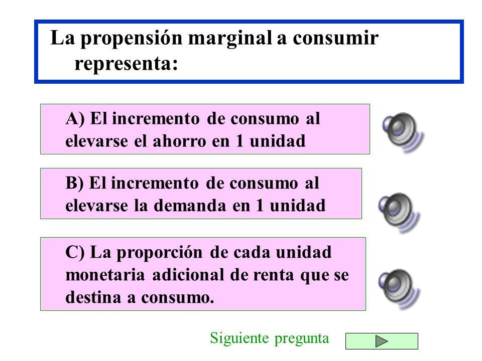 La propensión marginal a consumir representa:
