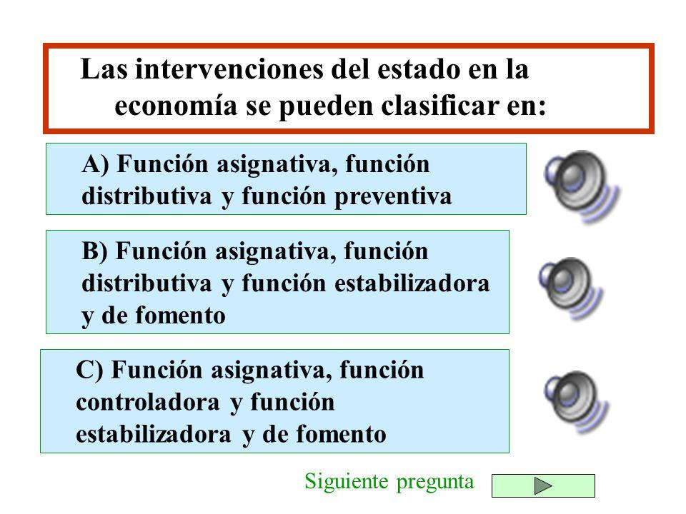 Las intervenciones del estado en la economía se pueden clasificar en: