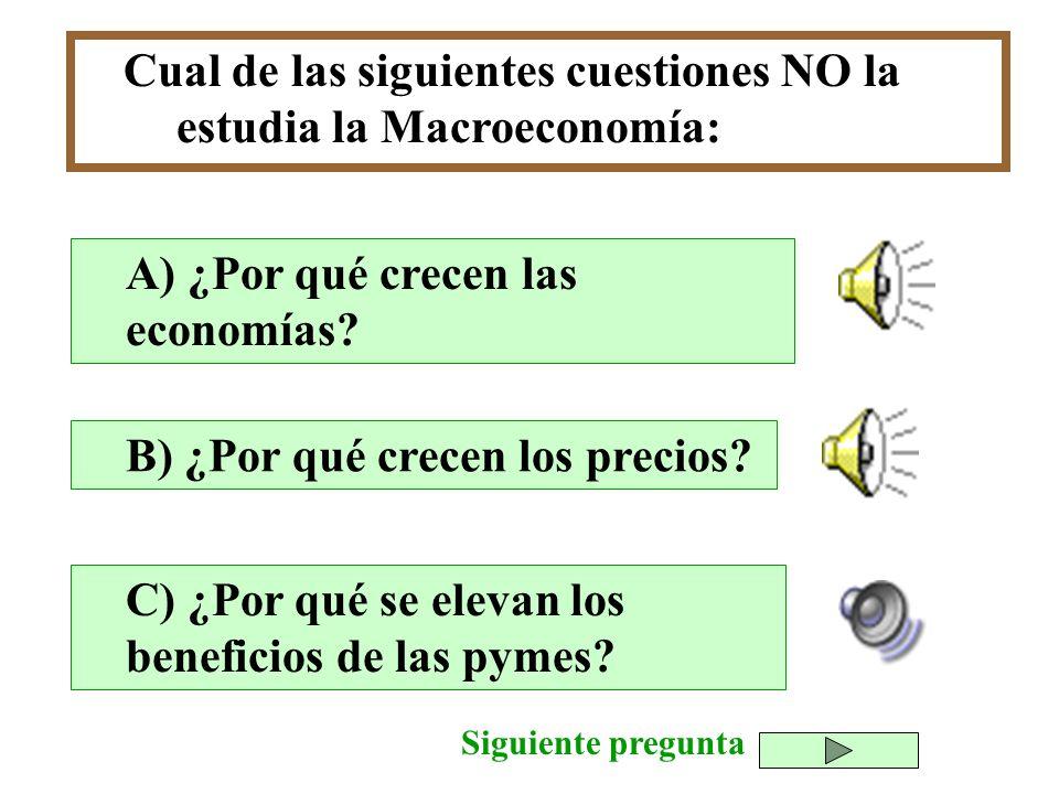 Cual de las siguientes cuestiones NO la estudia la Macroeconomía: