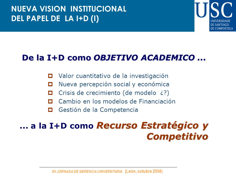 NUEVA VISION INSTITUCIONAL DEL PAPEL DE LA I+D (I)