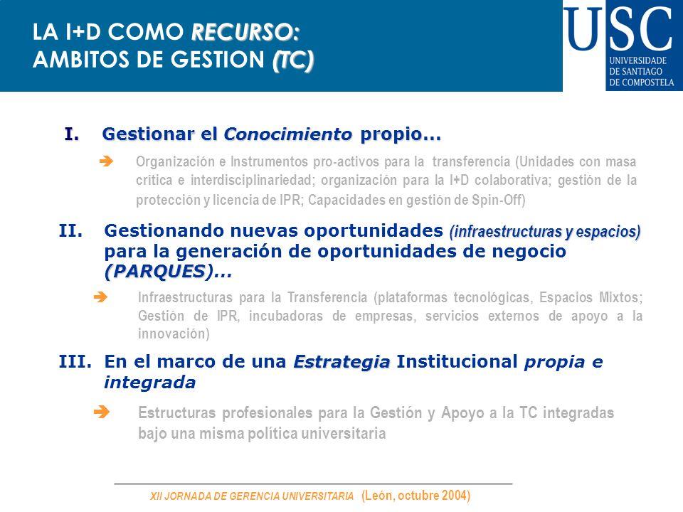 LA I+D COMO RECURSO: AMBITOS DE GESTION (TC)