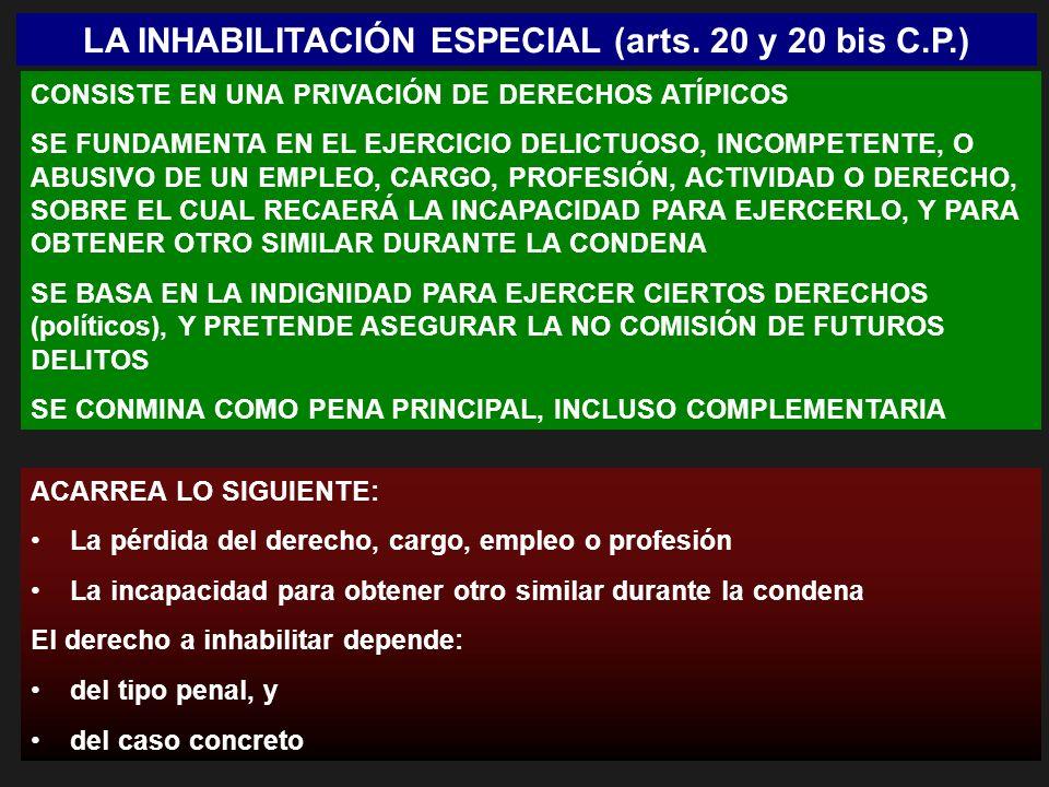 LA INHABILITACIÓN ESPECIAL (arts. 20 y 20 bis C.P.)