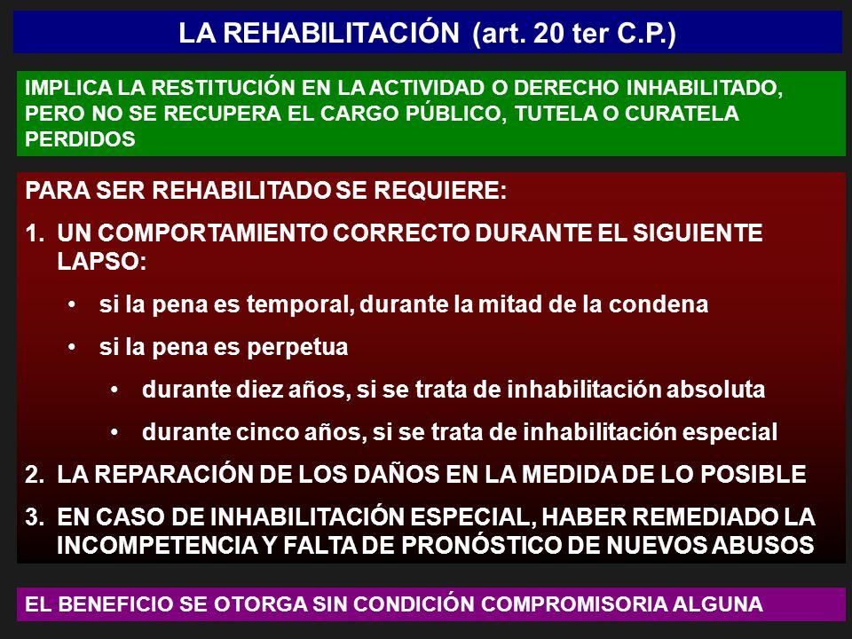 LA REHABILITACIÓN (art. 20 ter C.P.)