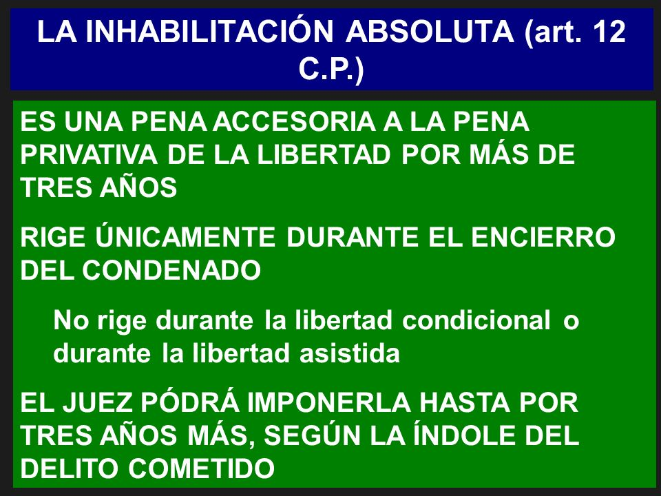 LA INHABILITACIÓN ABSOLUTA (art. 12 C.P.)