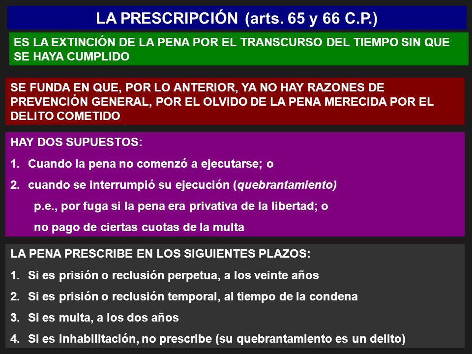 LA PRESCRIPCIÓN (arts. 65 y 66 C.P.)