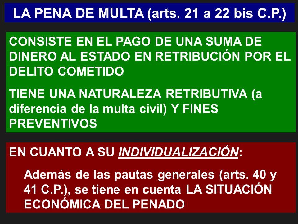 LA PENA DE MULTA (arts. 21 a 22 bis C.P.)
