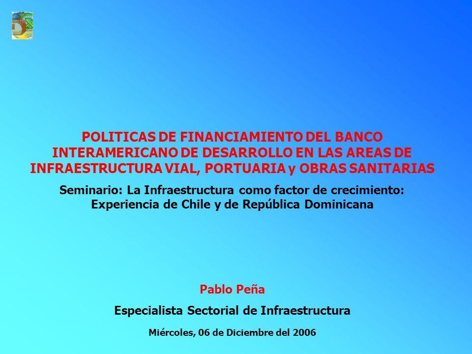 POLITICAS DE FINANCIAMIENTO DEL BANCO INTERAMERICANO DE DESARROLLO EN LAS AREAS DE INFRAESTRUCTURA VIAL, PORTUARIA y OBRAS SANITARIAS