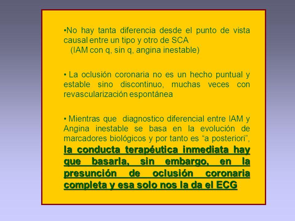No hay tanta diferencia desde el punto de vista causal entre un tipo y otro de SCA
