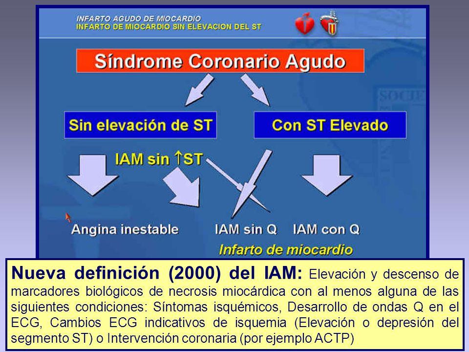 Nueva definición (2000) del IAM: Elevación y descenso de marcadores biológicos de necrosis miocárdica con al menos alguna de las siguientes condiciones: Síntomas isquémicos, Desarrollo de ondas Q en el ECG, Cambios ECG indicativos de isquemia (Elevación o depresión del segmento ST) o Intervención coronaria (por ejemplo ACTP)
