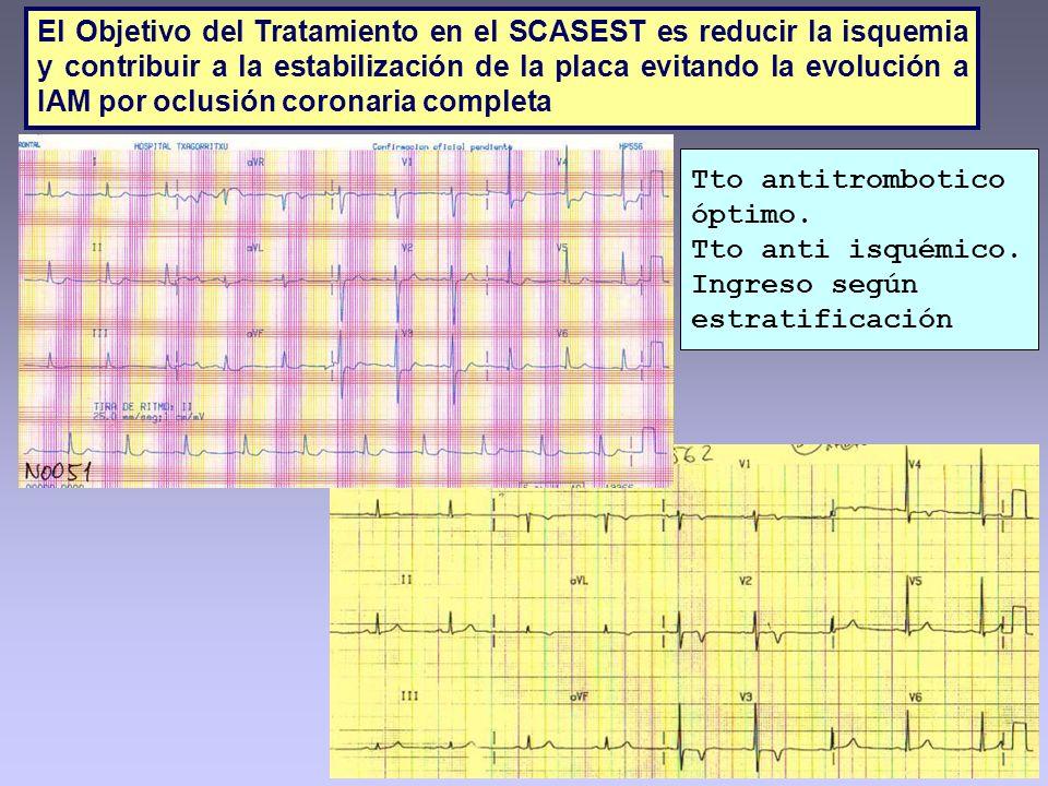El Objetivo del Tratamiento en el SCASEST es reducir la isquemia y contribuir a la estabilización de la placa evitando la evolución a IAM por oclusión coronaria completa
