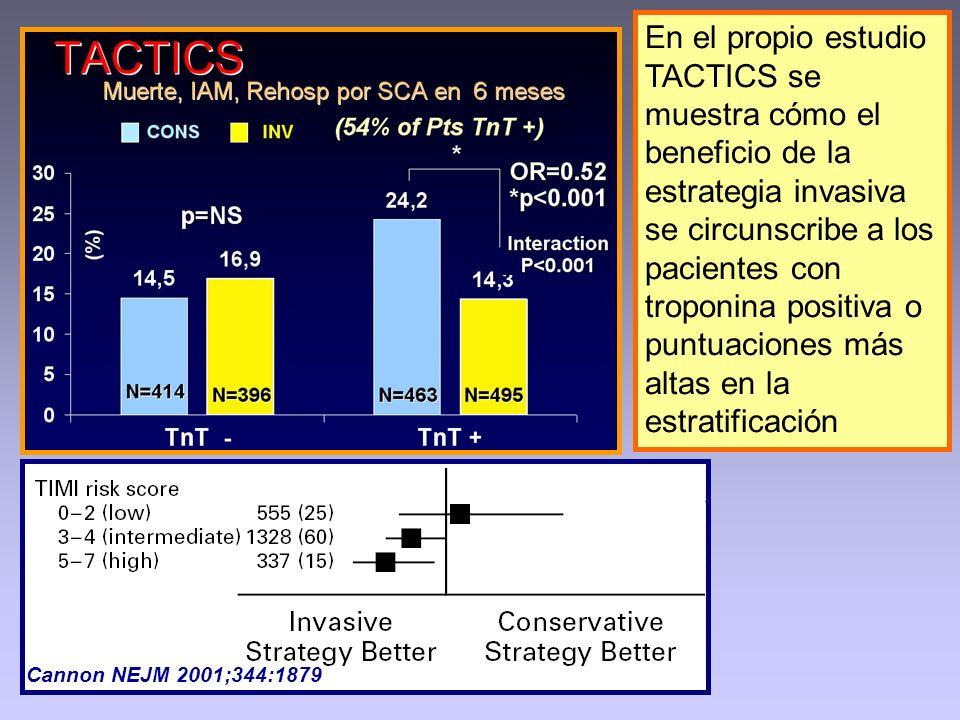 En el propio estudio TACTICS se muestra cómo el beneficio de la estrategia invasiva se circunscribe a los pacientes con troponina positiva o puntuaciones más altas en la estratificación