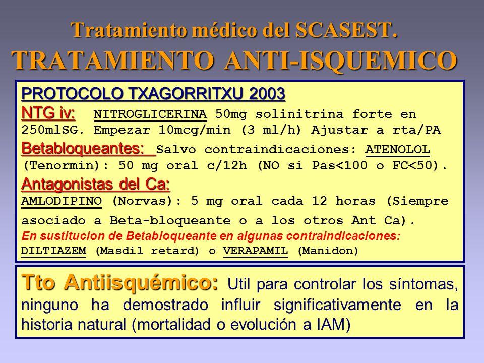 Tratamiento médico del SCASEST. TRATAMIENTO ANTI-ISQUEMICO