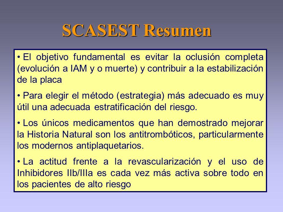 SCASEST Resumen El objetivo fundamental es evitar la oclusión completa (evolución a IAM y o muerte) y contribuir a la estabilización de la placa.