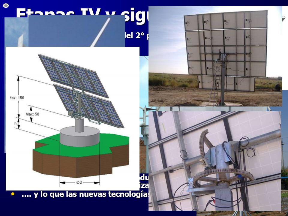 Etapas IV y siguientesInstalación – inminente – del 2° panel fotovoltaico de 500 W con seguidor de 1 eje.