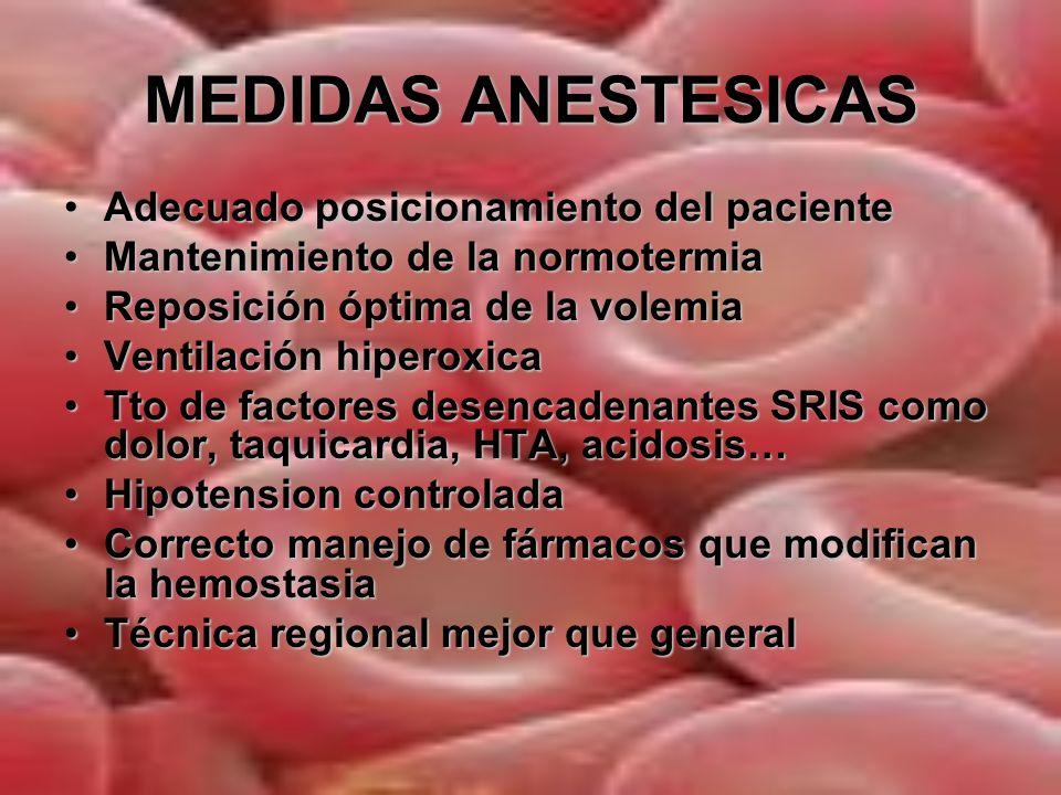 MEDIDAS ANESTESICAS Adecuado posicionamiento del paciente