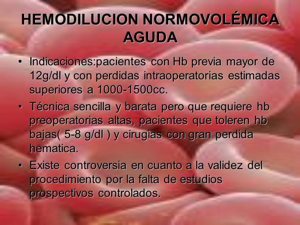 HEMODILUCION NORMOVOLÉMICA AGUDA