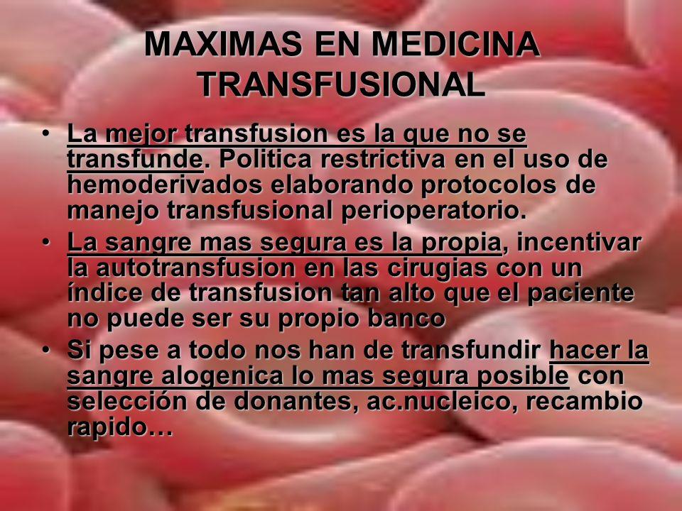 MAXIMAS EN MEDICINA TRANSFUSIONAL