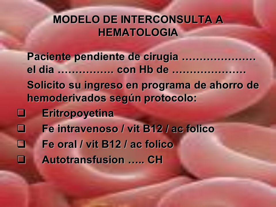 MODELO DE INTERCONSULTA A HEMATOLOGIA