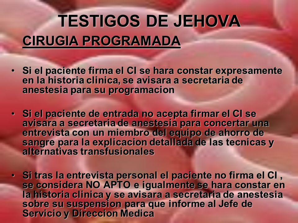 TESTIGOS DE JEHOVA CIRUGIA PROGRAMADA