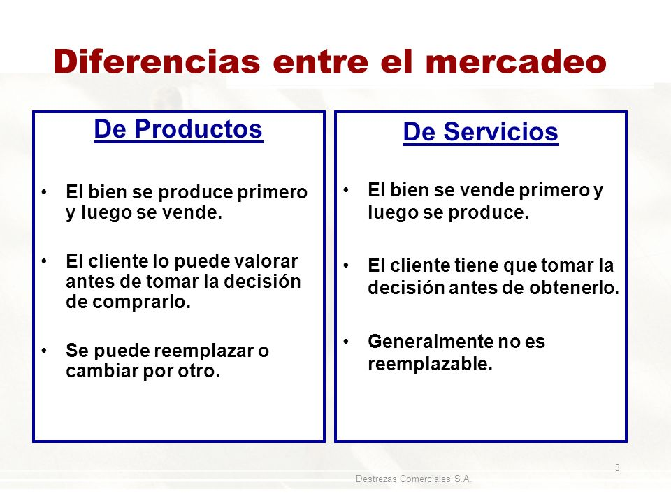 Diferencias entre el mercadeo
