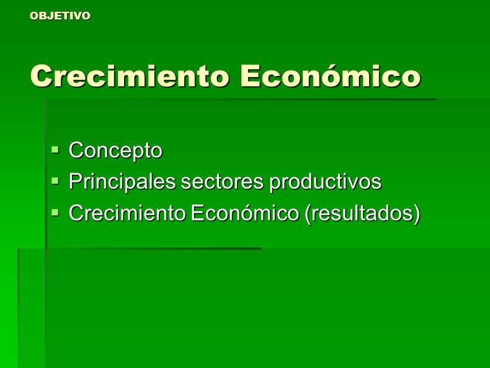 OBJETIVO Crecimiento Económico
