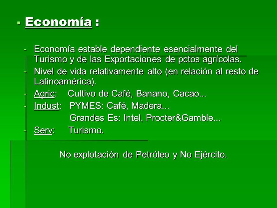 Economía : Economía estable dependiente esencialmente del Turismo y de las Exportaciones de pctos agrícolas.
