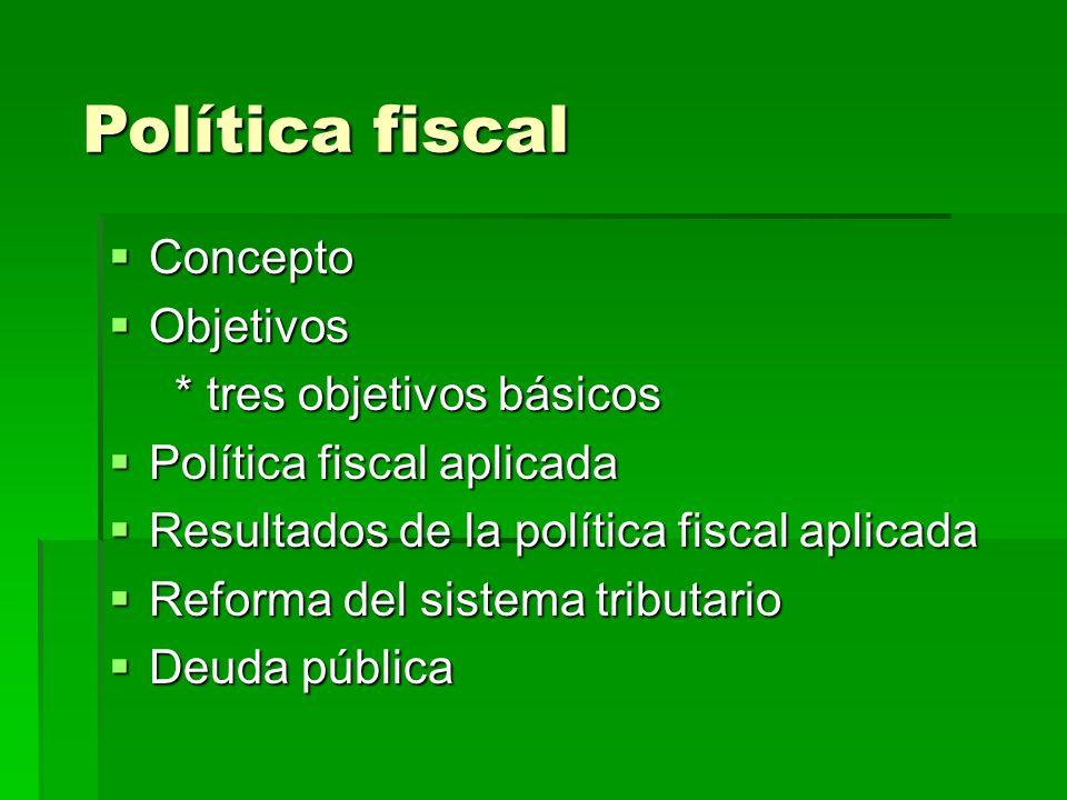 Política fiscal Concepto Objetivos * tres objetivos básicos