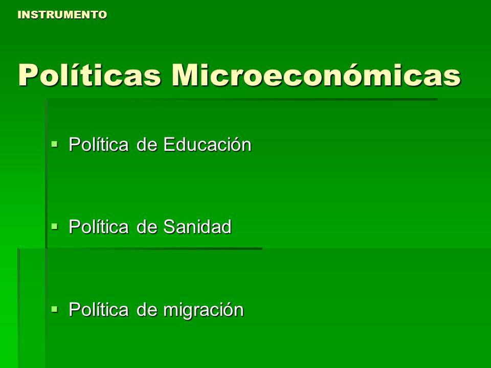INSTRUMENTO Políticas Microeconómicas