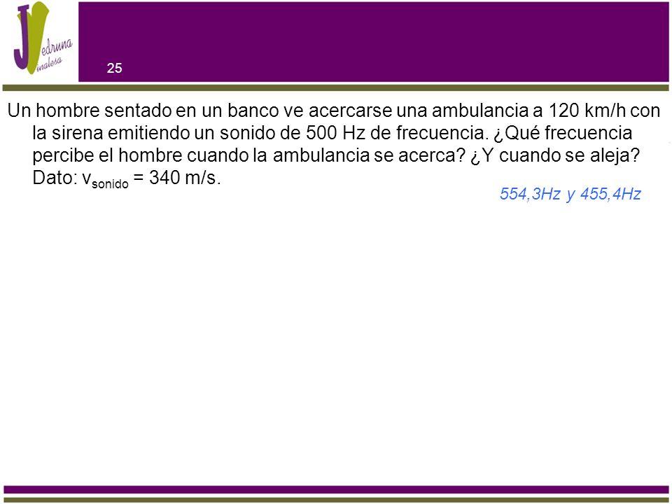Un hombre sentado en un banco ve acercarse una ambulancia a 120 km/h con la sirena emitiendo un sonido de 500 Hz de frecuencia. ¿Qué frecuencia percibe el hombre cuando la ambulancia se acerca ¿Y cuando se aleja Dato: vsonido = 340 m/s.