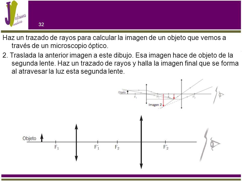 Haz un trazado de rayos para calcular la imagen de un objeto que vemos a través de un microscopio óptico.
