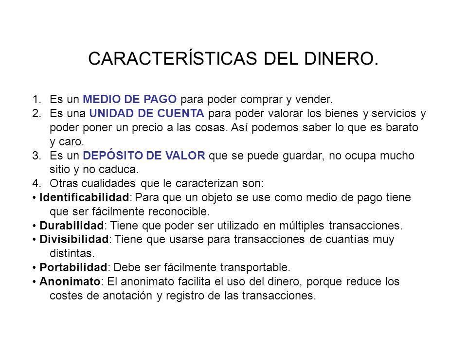 PROPIEDADES DEL DINERO CARACTERÍSTICAS DEL DINERO.