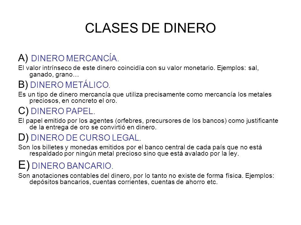 CLASES DE DINERO E) DINERO BANCARIO. A) DINERO MERCANCÍA.