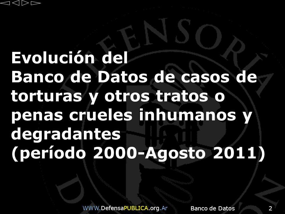 Evolución del Banco de Datos de casos de torturas y otros tratos o penas crueles inhumanos y degradantes (período 2000-Agosto 2011)