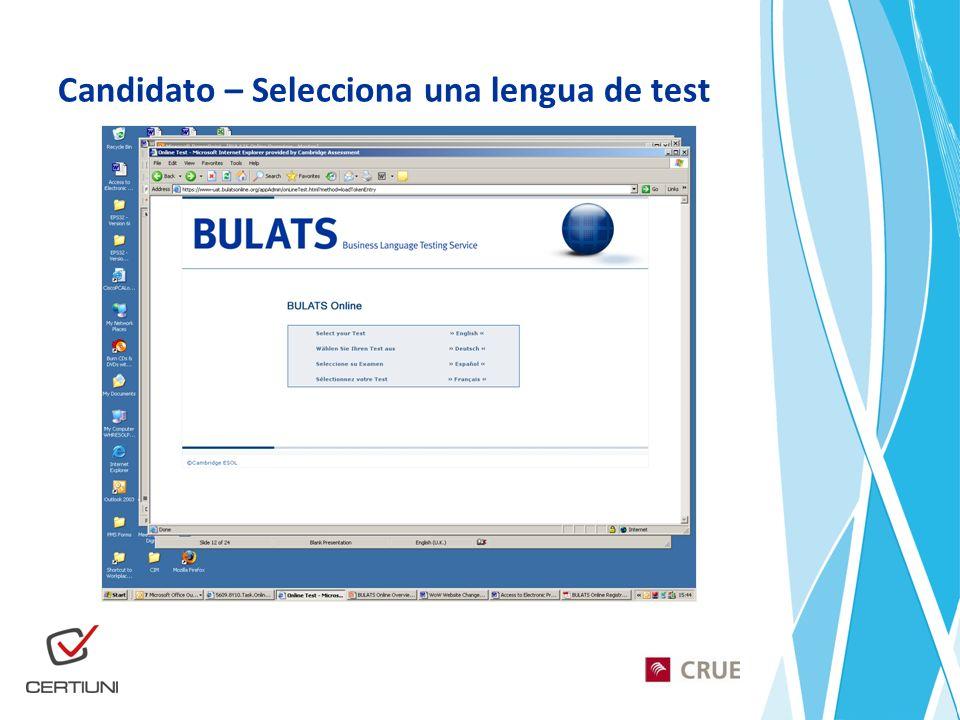 Candidato – Selecciona una lengua de test