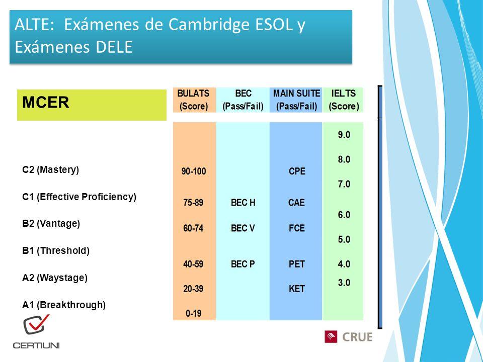 ALTE: Exámenes de Cambridge ESOL y Exámenes DELE