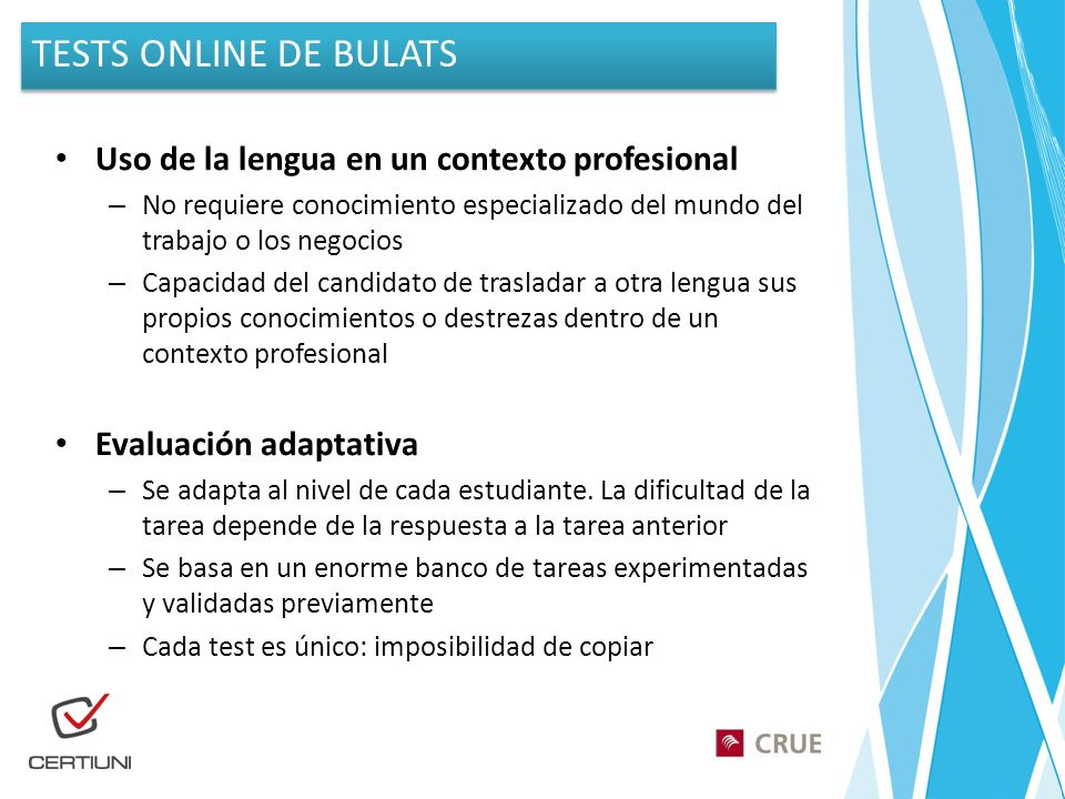 TESTS ONLINE DE BULATS Uso de la lengua en un contexto profesional