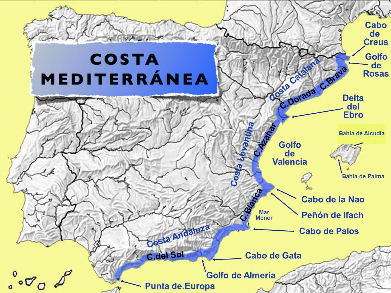 Cabo de Creus Golfo de Rosas Costa Catalana C.Brava C.Dorada Delta del