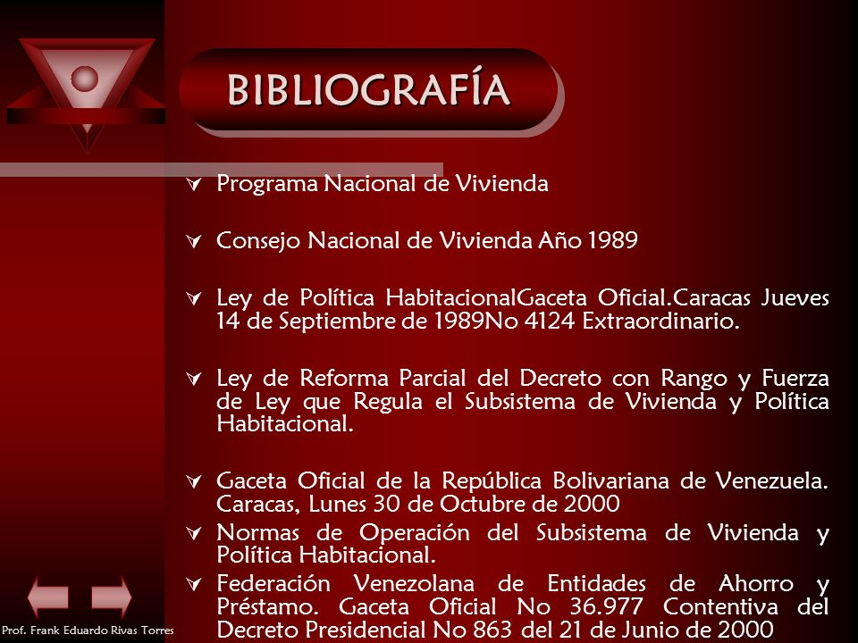 BIBLIOGRAFÍA Programa Nacional de Vivienda