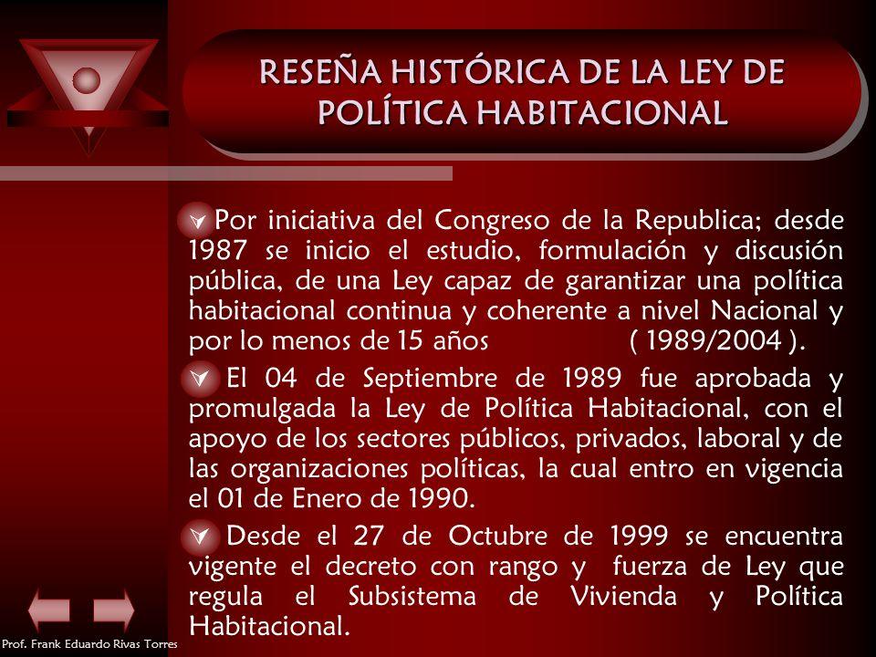 RESEÑA HISTÓRICA DE LA LEY DE POLÍTICA HABITACIONAL