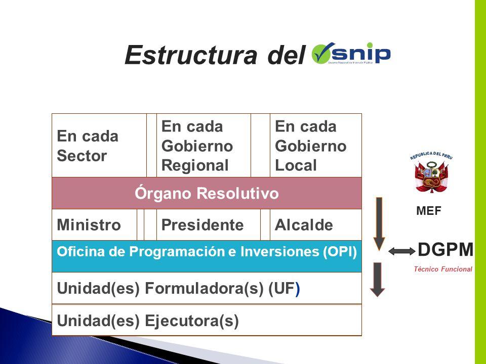 Estructura del DGPM En cada Sector En cada Gobierno Regional