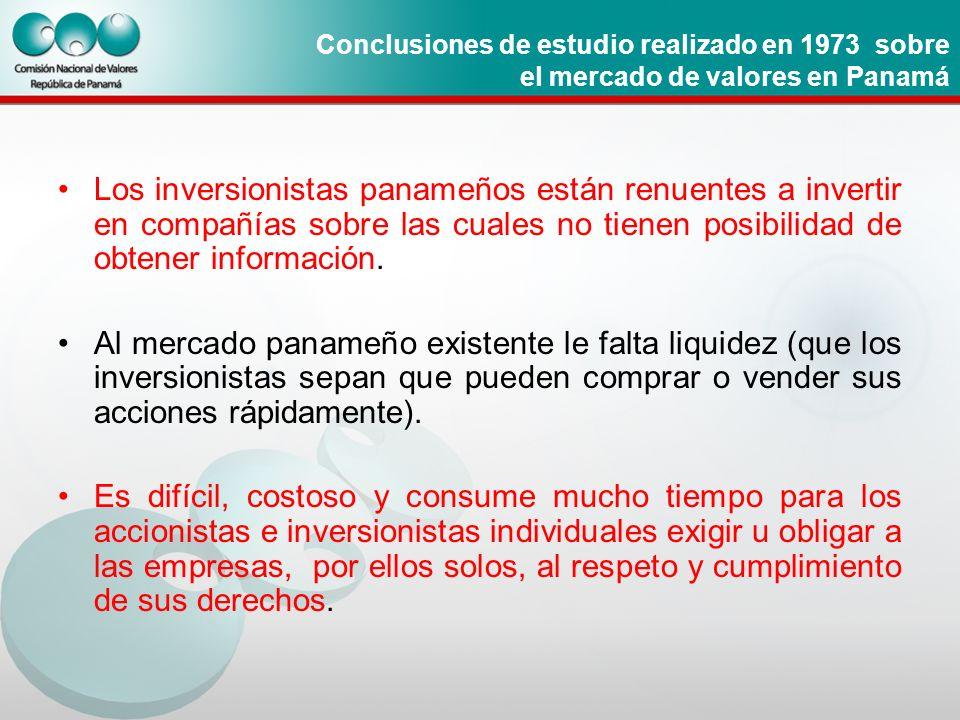 Conclusiones de estudio realizado en 1973 sobre el mercado de valores en Panamá