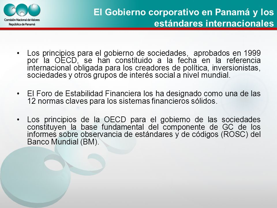 El Gobierno corporativo en Panamá y los estándares internacionales