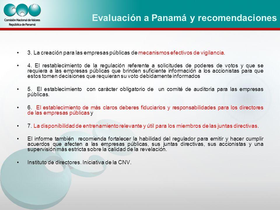 Evaluación a Panamá y recomendaciones