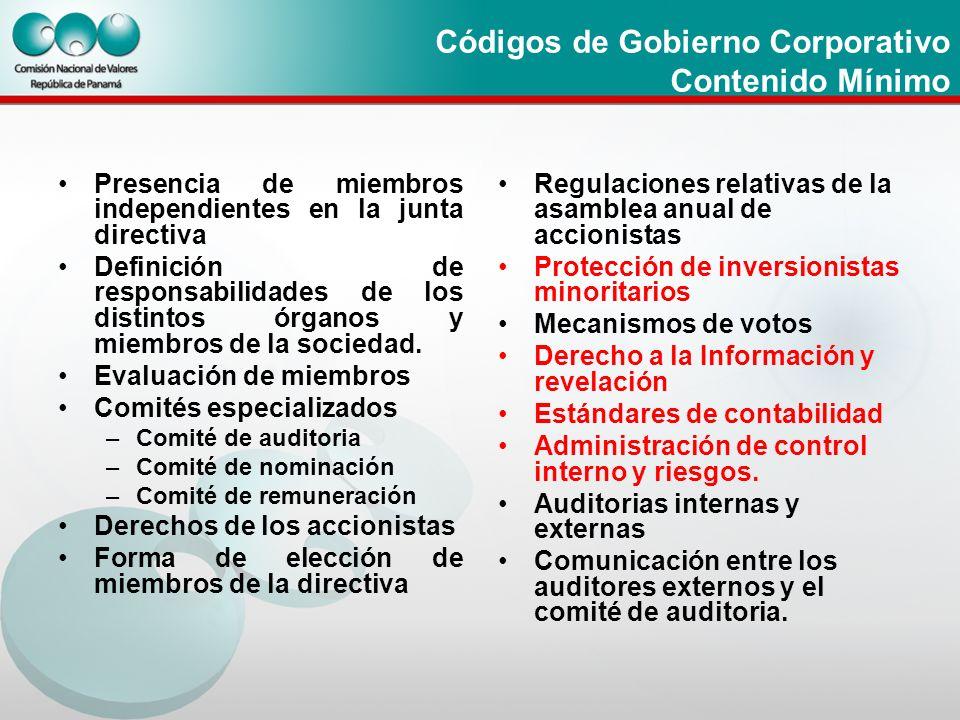 Códigos de Gobierno Corporativo Contenido Mínimo