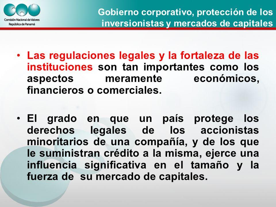 Gobierno corporativo, protección de los inversionistas y mercados de capitales
