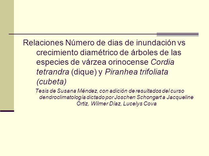Relaciones Número de dias de inundación vs crecimiento diamétrico de árboles de las especies de várzea orinocense Cordia tetrandra (dique) y Piranhea trifoliata (cubeta)