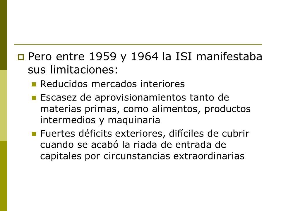Pero entre 1959 y 1964 la ISI manifestaba sus limitaciones: